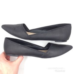 Aldo pointed toe black leather d'Orsay flats